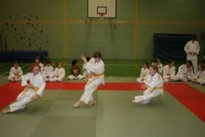 Judoka bei Fallübungen