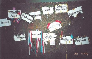 Schilder mit den Spartenangeboten im Jahr 2000