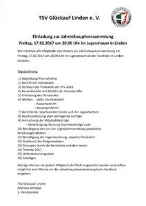 Einladung zur Jahreshauptversammlung des TSV Glückauf Linden e.V. am 17.02.2017