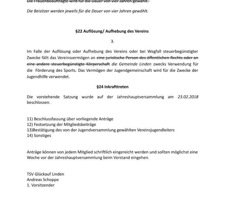 Einladung zur Jahreshauptversammlung am 23.02.2018 im Jugendraum
