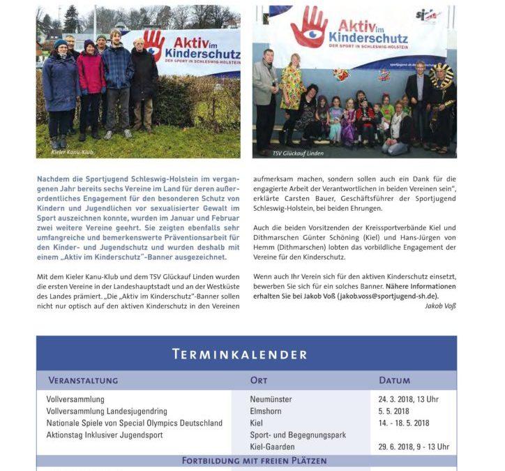 Kieler Kanu-Klub und TSV Glückauf Linden für ihr Engagement im Kinderschutz ausgezeichnet