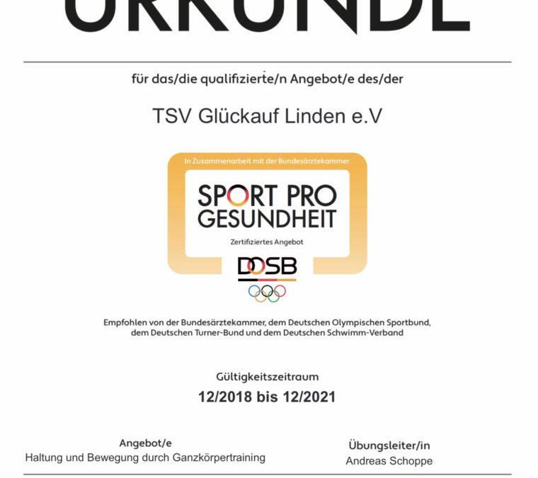 Kurs des TSV Lindens wurden zertifiziert
