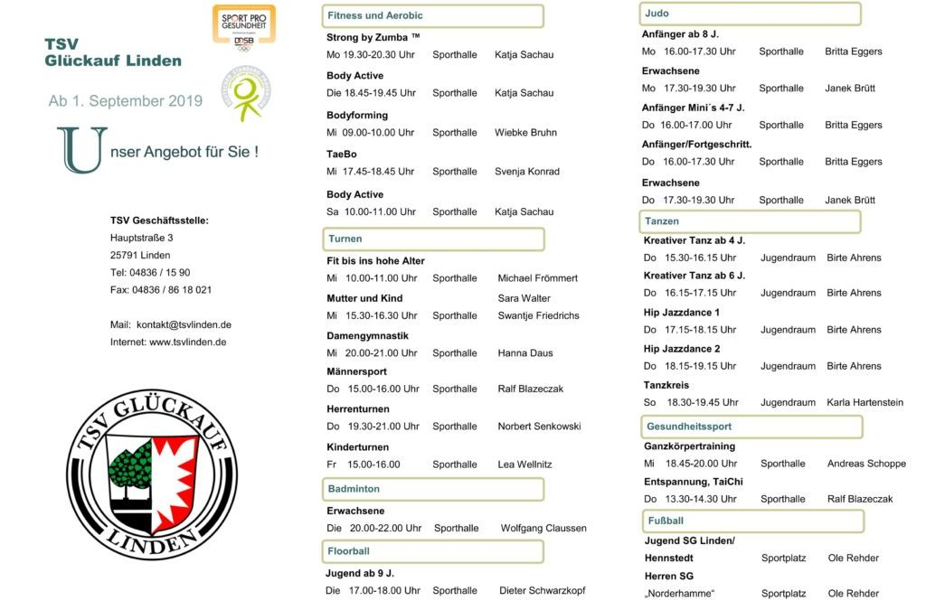 Unsere Sportangebote ab September 2019