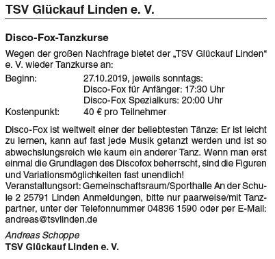 Neue Disco-Fox-Tanzkurse ab 27.10.2019